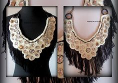 cuello y/o collar con apliques y flecos