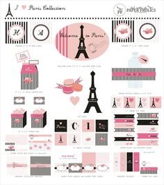 Parisian Party Complete Printable Set. $20.00, via Etsy.