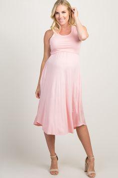 03349e526d77c Pink Crochet Back Sleeveless Maternity Midi Dress Maternity Midi Dress,  Neckline, Spandex, Crochet