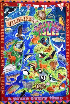 Wildlife of the British Isles painted in a fairground folk art style