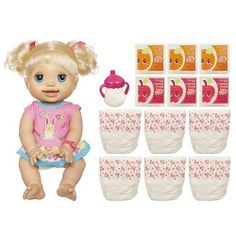 Baby Alive Real As Can Be Doll Gift Set - Blonde by Hasbro. $99.78. 6 juice packets. Includes 6 diapers. Speaks 50+ phrases. Take good care of your BABY ALIVE REAL AS CAN BE BABY doll and she'll play with you, just like a real baby! This cute little baby doll just loves it when you wave your hand in front of her and tickle her tummy. She loves it so much, she'll even giggle! She moves and wiggles to play with you. With more than 50 phrases, your adorable little one a... Baby Doll Nursery, Baby Girl Toys, Toys For Girls, Cute Little Baby, Little Babies, American Girl Doll Julie, American Girls, Baby Doll Diaper Bag, Fake Baby