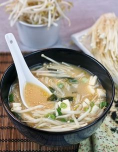 Miso Soup.  Just a tablespoon provides about one sixth of the protein needed per day, it's also rich in vitamins and minerals, virtually ...
