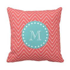 =>>Cheap          Coral Chevron Pattern | Teal Monogram Pillow           Coral Chevron Pattern | Teal Monogram Pillow Yes I can say you are on right site we just collected best shopping store that haveThis Deals          Coral Chevron Pattern | Teal Monogram Pillow Here a great deal...Cleck Hot Deals >>> http://www.zazzle.com/coral_chevron_pattern_teal_monogram_pillow-189444753919339203?rf=238627982471231924&zbar=1&tc=terrest