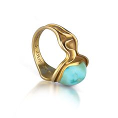 14k Yellow Gold Art Nouveau Turquoise Ring 3.7Gr Sz 6 (Dated 1907)