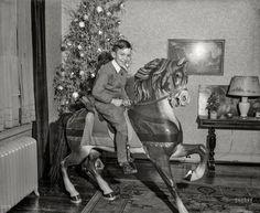 """Pony Boy"" fine-art print---Washington, D., circa ""Boy on toy pony next to Christmas tree. Vintage Christmas Photos, Retro Christmas, Christmas Pictures, Antique Christmas, Vintage Holiday, Vintage Photographs, Vintage Images, Christmas Past, Xmas"