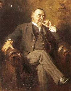 Portrait of Kalman Mikszath, 1910 by Gyula Banczur (Hungarian 1844-1920).....the sitter is regarded as one of the greatest 19th century Hungarian novelists and was also a politician, and here with those striped trousers and cigar he looks more of the latter than the former....