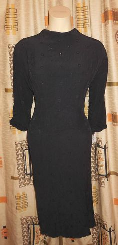 Vintage 1930s Dress Black Crepe Small Metal Studs Art Deco Abito Degli Anni  40 8c156b06edbc