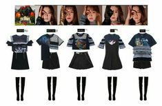 Irene — Louise Seulgi — Me (Laurice) Wendy — Nicole Joy — Mae Yeri — Christina Kpop Fashion Outfits, Stage Outfits, Dance Outfits, Cute Outfits, Womens Fashion, Kpop Costume, Weekly Outfits, Korea Fashion, Aesthetic Clothes