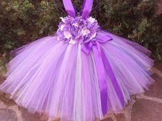 PURPLE IVORY FLOWERS.  Tutu Dress.  Birthday Tutu Dress.  Flower Girl Gown.  Photo Shoot Tutu Dress.
