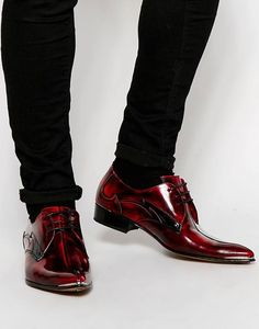 Red Leather Derby Shoes which can be styled with a Shirt and a pair of Black Denim Jeans