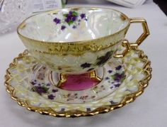 Japan 3 Footed Ring Handle Tea Cup and Saucer Violets Gold Open Edge   eBay
