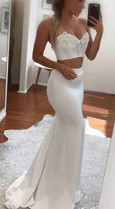 Sweetheart Two Piece Mermaid Prom Dress,Applique White Evening Dress,evening gowns,Prom Dresses,Appliques Lace Long Dress  G408