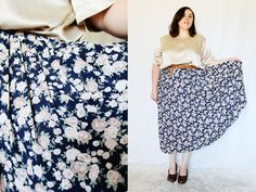 Plus Size - Vintage Floral Chiffon Pleated Swing Skirt by TheCurvyElle, $25.00