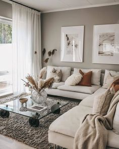 Neutral living room with corner sofa, rust coloured cushions and pampas grass accessories #neutralhome #livingroom Living Room Decor Cozy, Home Living Room, Apartment Living, Living Room Designs, Living Room Furniture, Cozy Furniture, Furniture Design, Beige Living Rooms, Luxury Furniture