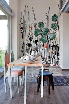 Papier peint motif nature / contemporain GOUACHE by Ines Porrino Wall&Deco Sweet Home, Diy Home Decor, Room Decor, Wall Drawing, Drawing Step, Contemporary Wallpaper, Mural Art, Kids Wall Murals, Wall Design