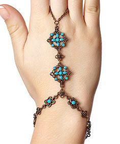 Look at this #zulilyfind! Turquoise & Goldtone Wrist-to-Ring Bracelet #zulilyfinds