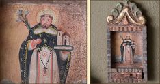 Reproduction Religious Artifacts from Peru Saint Dominic, Mexican Hacienda, Paper Place, Patron Saints, Latin America, Primitives, Shadow Box, Peru, Drawer