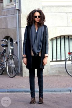 grey infinity scarf or cowl neck, beige cardigan, long 2-tone jacket, black jeans, and brown comfort oxfords