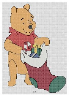 free cross stitch patterns and links: Winnie the Pooh with Christmas stocking
