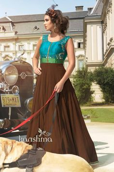 Coffee #brown with sea #blue & #green raw #silk & georgette smart #anarkali with round neck-SL4768
