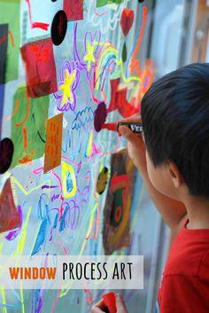 window process art with preschoolers