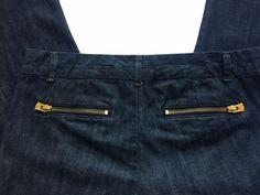 A/X Armani Exchange Straight Leg Premium Denim Designer Jean Gold Zipper Back 12 #ArmaniExchangeAX #ClassicStraightLeg #Luxecella