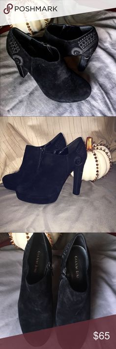 """Gianni Bini Embroidered Heels Suede upper, with a 4"""" heel. Worn only once, very comfortable. Slightly cushioned interior.  Great for evening wear or dressy occasions. Gianni Bini Shoes Heels"""