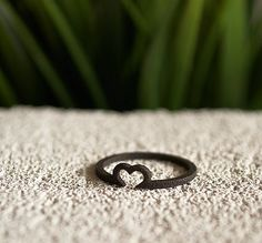 3D printed matte black heart ring. 3D printed jewelry.