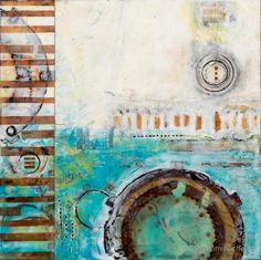 Collective, Encaustic Painting with Carbon Ink, Rusted Paper, Pam Nichols