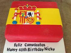 Spanish flag themed birthday cake for a Spanish themed part