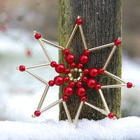 Easy To Make Christmas Ornaments, Fabric Christmas Ornaments, Snowflake Ornaments, Christmas Snowflakes, Beaded Ornaments, Beaded Snowflake, Handmade Christmas, Christmas Crafts, Beaded Crafts