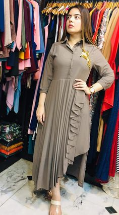 Crepe collared drape kurti tunic with handwork motiff image 1 Designer Party Wear Dresses, Kurti Designs Party Wear, Indian Designer Outfits, Indian Fashion Dresses, Fashion Outfits, Indian Gowns, Simple Kurti Designs, Kurta Designs Women, Stylish Dresses For Girls