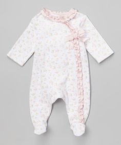 Loving this White & Pink Floral Ruffle Footie - Infant on #zulily! #zulilyfinds