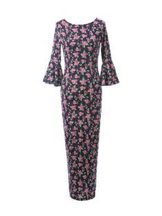 Sweet Floral Print Vented Half Ruffle Sleeve Maxi Dress