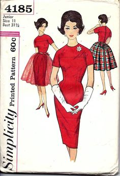 Vintage 50s 60s Simplicity 4185 Dress With by vintagepatternstore, $14.93