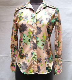 Vintage Peach Blouse San Francisco Shirt Works Photos Flowers Valentine SZ  S