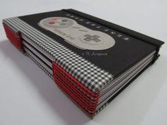 caderno menino videogame longstitch scrapbook #tkscrapbook