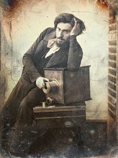 Gustave le Gray, selfportrait, 1847 - with his Daguerreotype camera -