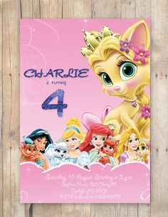 Princess Palace Pets Party Invitation by FlurgDesigns on Etsy, £5.00
