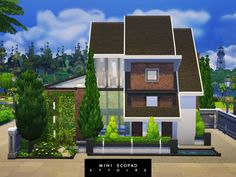 Small, modern and industrial house; located in the commercial area of Willow Creek. Downstairs has a living room, a kitchen with a dining area, a small study nook, a guest bedroom and a bathroom. Industrial Bookshelf, Industrial Windows, Industrial Flooring, Industrial Bedroom, Industrial Living, Industrial Farmhouse, Industrial House, Industrial Furniture, Industrial Wallpaper