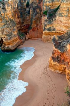 Dona Ana Beach, Algarve, Portugal I Can. To go visit my family in Portugal. Places Around The World, The Places Youll Go, Places To See, Around The Worlds, Hidden Places, Beaches In The World, Hidden Beach, Dream Vacations, Vacation Spots