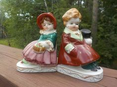 Vintage Occupied Japan Man And Lady Figurine Book Ends