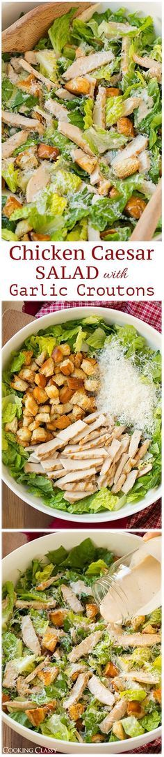 Chicken Caesar Salad with Garlic Croutons and Light Caesar Dressing