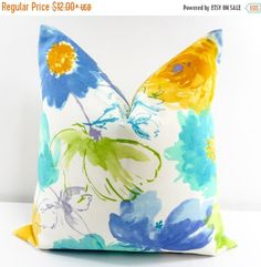 On Sale Floral Pillow Cover. Water color by TwistedBobbinDesigns