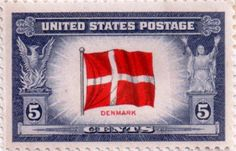 US postage stamp, 5 cents.  Denmark.  Issued 1943.  Scott catalog 920.