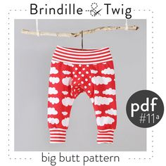 Baby pants pdf pattern, big butt style, sizes 0-12month, easy photo tutorial -Pattern 11a