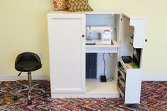 This fold out sewing cabinet is seriously amazing! You should see how little it folds up to be. http://www.craftaholicsanonymous.net/the-sewing-cabinet