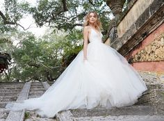 Ivory Tulle bridal ball gown, lace bodice with halter neckline, T -strap back, sweep train. Bridal Gowns, Wedding Dresses by Jim Hjelm Bridal - JLM Couture - Bridal Style jh8504 by JLM Couture, Inc.