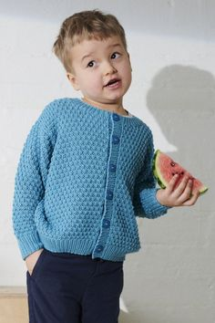 The child's cardigan is knitted as a simple embossed knit.