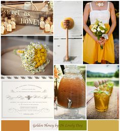 {inspiration} a lovely outdoor summer wedding  {palette} amber, golden honey, cream, green, accented with burlap & rustic wood details  via Oh Lovely Day
